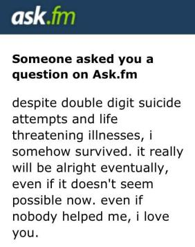 Somebody posted this message to OU Confessions' ask.fm in response to the student expressing suicidal thoughts.