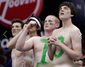 A shirtless Marlowe Alter (far left) is pictured at the 2010 MAC tournament. (Photo via ESPN.com)