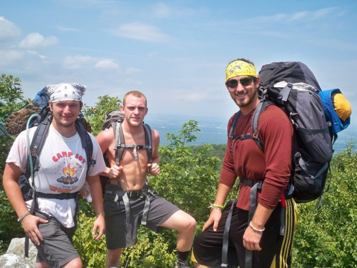 Houck on the Appalachian Trail with friends Clay Howard and Chris Austing. Photo provided.