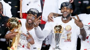 The Miami Heat celebrate back-to-back championships. (Kevin C. Cox/Getty Images)
