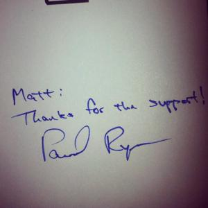 McKnight's note of thanks from former VP hopeful Paul Ryan. Photo provided.