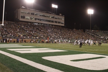 "24,836 fans packed Peden Stadium for the ""Battle of the Bell."" It was the third-largest crowd in stadium history (Lauren Prescott)."