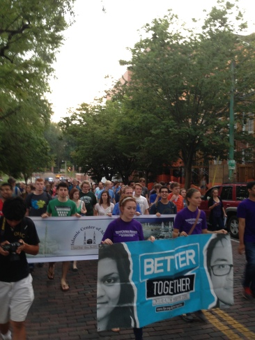 UCM students lead the crowd at the Interfaith Peace Walk. PHOTO CREDIT: Samantha Nelson