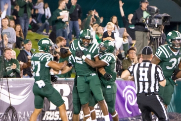 Ohio safety Toran Davis celebrates after recovering Marshall's bobbled kickoff in the endzone (Carl Fonticella)
