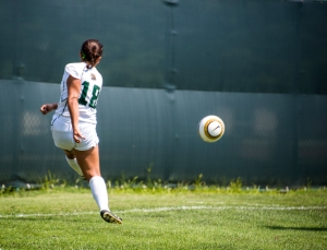 Molly Harris rips a shot earlier this season vs. Morehead State.