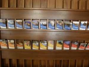 Along the wall in the Walter International Education Center, a series of pamphlets give information on different study abroad programs. The center can be a good place for students seeking information on studying abroad.
