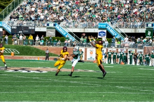 Ohio committed four turnovers in their stunning loss to Central Michigan. (Carl Fonticella)