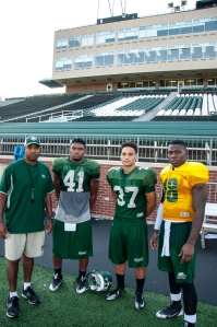 Ohio's secondary has been a pleasant surprise thus far. From left: Cornerbacks coach James Ward, CB Ian Wells, CB Devin Bass, and CB Travis Carrie. (Carl Fonticella)