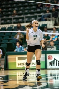 Abby Gilleland celebrates Ohio's win over Toledo (Carl Fonticella)