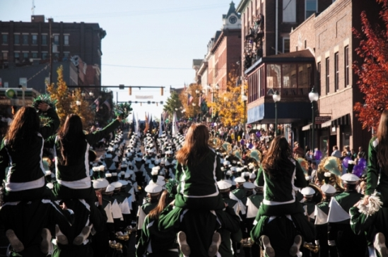 The Marching 110 leads the Homecoming Parade down Court Street in 2010 before the parade's route was changed to travel up West Union. Photo: Dustin Franz, The Athens News.