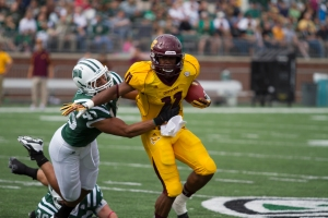 Central Michigan was able to rush for over 200 yards against Ohio's stout run defense. (Nichola Horsley)