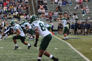 Wideouts Landon Smith (87) and Kawmae Sawyer (84) line up for a play against Akron. (Zak Kolesar)