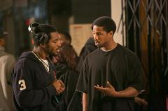 "Ryan Coogler (left) and Michael B. Jordan (right) on the set of ""Fruitvale Station"" Photo by Rhee Bevere"