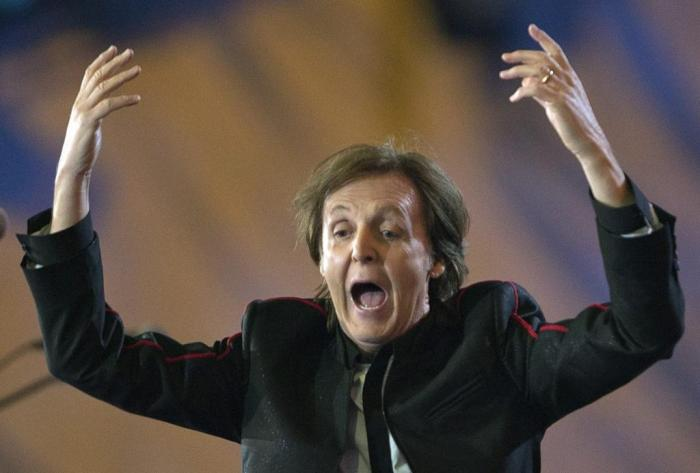 Paul McCartney looking excited while preforming at the iHeart Music Festival. Photo from New York Post.