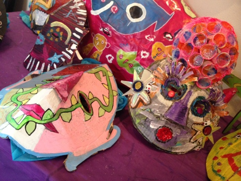 Halloween masks on display in the showroom. Photo by Sammi Nelson.