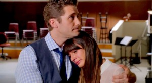 Mr. Shue comforting Rachel  (and effectively Lea) after her touching tribute to Finn in the episode. Photo provided by FOX.