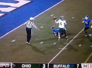 Referee's ruled Tyler Tettleton was in the end zone when this pass was thrown, resulting in a safety for Buffalo.