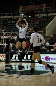 Abby Gilleland rises to set the ball in Ohio's 3-game win over Akron. (Carl Fonticella)