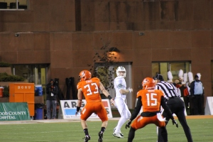 Quarterback Tyler Tettleton (center) looks downfield Tuesday night against Bowling Green. The BG defense held Tettleton to a career-low 93 yards passing.