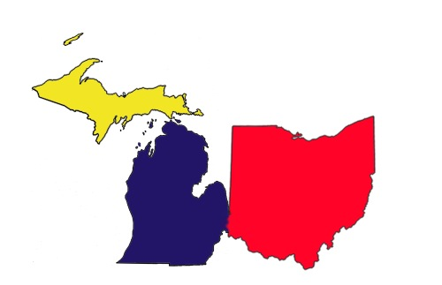 Aw look! How cute! It seems as if Ohio and Michigan have settled their differences (Created by Jordan Randall)