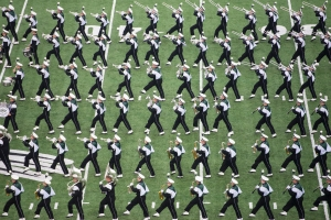The Marching 110 performs earlier this season against Austin Peay. (Carl Fonticella)