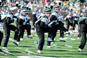 The Marching 110 performs earlier this season against Central Michigan. (Carl Fonticella)