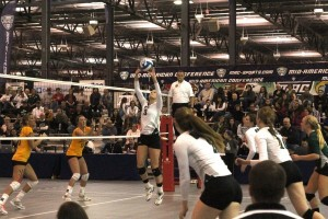 Ohio volleyball plays in the MAC Tournament at in Spire Institute in 2011. (matchpointohio.com)