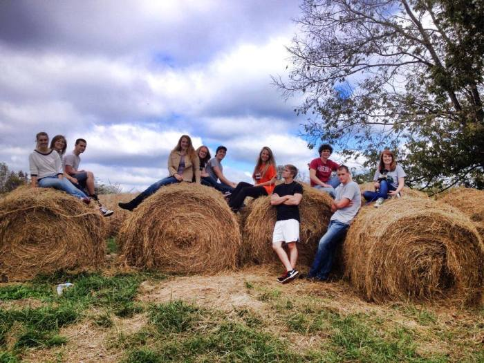 Left to right: Jessica Osborn, Chealsia Smedley, Eric New,  Rebecca Van Oort, Brandy Borders, Joel Hafner, Aubrey  Jackson, Weston Martin, Niko Manella, Cody Pettit and Katelyn Preston pose in some picturesque countryside beauty. Photo courtesy of Brandy Borders.