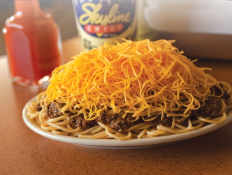 Don't knock it 'til you try it: a 3-Way from Skyline Chili. Yep, that's right, a 3-Way. Spaghetti, chili and cheese all in one. Photo form skylinechili.com