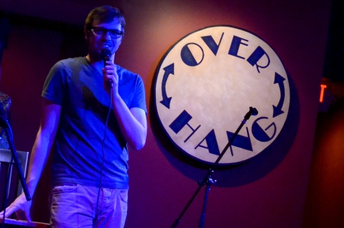 Host Taylor Reinhart helped arrange The Over Hang's first comedy night. He spoke between acts at the show on Weds, Feb. 6.