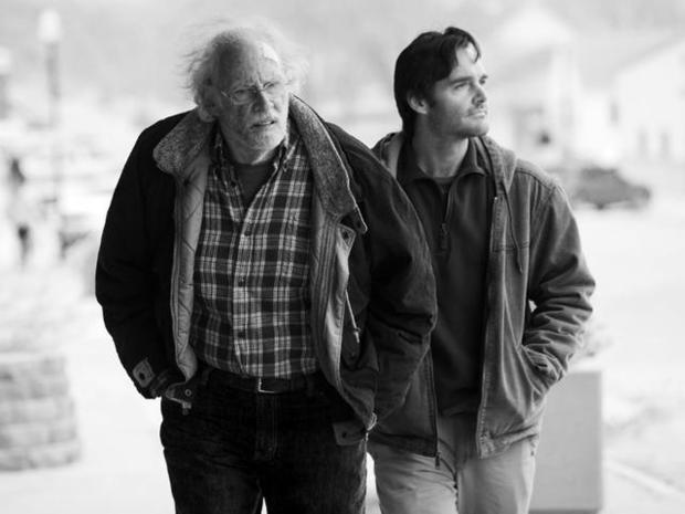 Bruce Dern and Will Forte walking side by side. Photo from News Observer.
