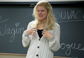 Ellenore Holbrook, freshman, uses her character to show the angry side of being a woman and how uncomfortable it can be. Photo by Lauren Prescott.