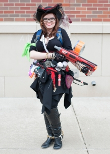 Anna Kolar and her pirate costume and weapons. Photo from Carl Fonticella.