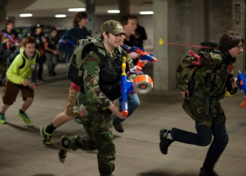 So the battle ensues: humans vs. zombie. Who shall win? Photo from Carl Fonticella.
