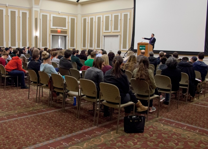 Jonathan Ray, a professor of Jewish Studies in the Theology Department of Georgetown University, gave a speech on the importance of Jewish history, Thursday, March 27, in Baker Ball Room. Photo by Lauren Prescott.