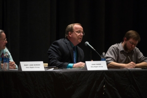 John Pardee delivers one of his several statements during the debate. Photo by Nick Horsley.