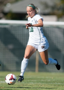 Ohio freshman Allie Curry runs with the ball on Friday. Ohio defeated Akron, 3-1. Photo by Carl Fonticella.