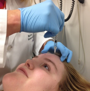 Caitlin Harrison, the author of this article, receiving Botox injections at the Cleveland Clinic in Cleveland, Ohio.