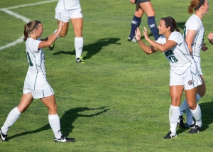 Carly Manso, right, celebrates with Liz Finley on Friday afternoon. Ohio defeated Eastern Kentucky on Sunday, 2-0. Photo by Carl Fonticella.