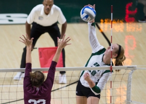 Ohio's Kelly Lamberti goes up for a spike against Texas A&M. The Aggies defeated the Bobcats in three sets. Photo by Carl Fonticella.