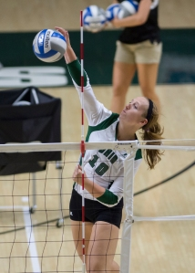 Ohio's Kelly Lamberti goes up for a spike on Friday night. Lamberti starred on Saturday as Ohio beat VCU in straight sets. Photo by Carl Fonticella.