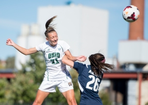 Ohio's Liz Finley goes up for a header against Akron on Sept. 26. Finley's goal gave Ohio a 1-0 victory at Western Michigan. Photo by Carl Fonticella.