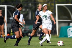 Ohio defender Celeste Fushimi-Karns passes the ball against Xavier on Sept. 5. Photo by Dan Kubus.