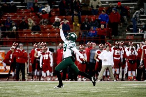 Josiah Yazdani celebrates after his 28-yard game-winning field goal. (Calvin Mattheis | Ohio Athletics)