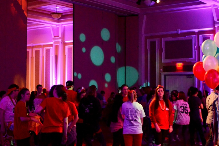 Students gather in the Baker Ballroom during the BobcaThon. Photo by Evan Chwalek.