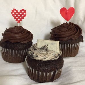 Karris Barclay constructed a (pictured in the back) double chocolate cupcake with Hershey chocolate icing and (pictured in the front) a double chocolate cupcake with cookies and cream cupcake icing.