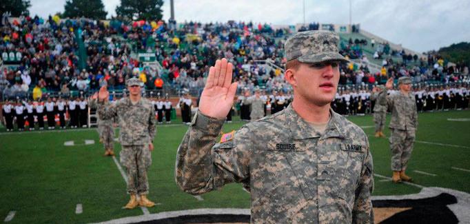 An image of the OU Bobcat Battalion. Photo courtesy of the Ohio University Army ROTC website: https://www.ohio.edu/armyrotc/benefits.html