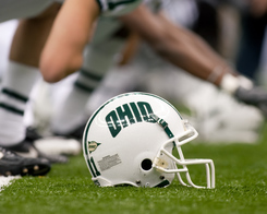 18 December 2010: R&L Carriers New Orleans Bowl- Troy v Ohio; An Ohio Bobcats helmets sits along side a player during warmups; Troy led 38-7 at half time