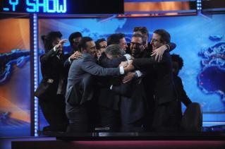 Jon Stewart's emotional send-off. Image courtesy of www.nydailynews.com