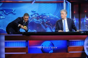 Trevor Noah prepares for his new position during Stewart's finale. Image courtesy of artsbeat.blogs.nytimes.com